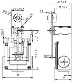 SUNS International SN2108-SP-A Adjustable Rotary Lever Saftey Limit Switch
