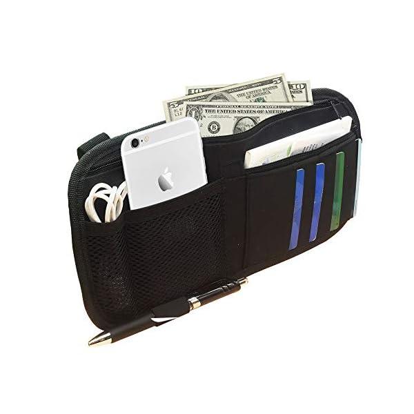 Auto Interior Accessories Pocket Organizer Car Sun Visor Organizer Registration and Document Holder-Black