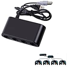 REDGO 4 Port Gamecube Controller Adapter Converter for Nintendo wii U and PC with Blue LED Prompt