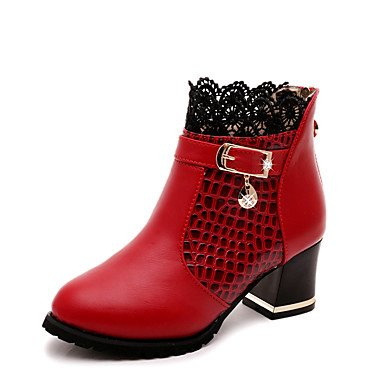 Heart&M Damen Schuhe PU Herbst Winter Springerstiefel Stiefel Booties Stiefeletten Für Normal Kleid Schwarz Rot red
