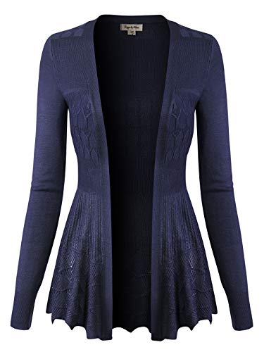 - Design by Olivia Women's Long Sleeve Crochet Knit Draped Open Sweater Cardigan Navy S