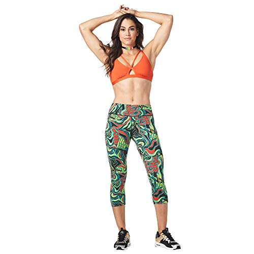 Zumba Dance Fitness Compression Pants Workout Print Capri Leggings for Women, Teal Dem Everything, XXL
