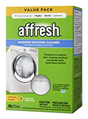 Affresh washer cleaner is designed to penetrate, dissolve and remove odor-causing residue that can occur in all washing machines. This specially formulated tablet dissolves slowly, lasting throughout the entire wash cycle and breaking up resi...