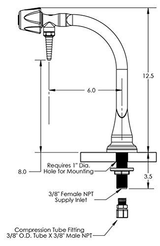 Marquest Scientific PVC Duraline (DL-DD-1) Deionized Water Laboratory Faucet, Metering Control Valve, Deck Mount