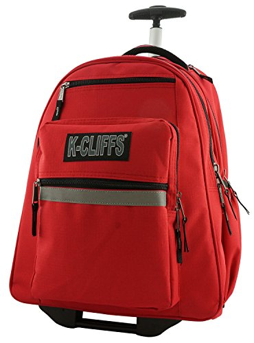 Heavy Duty Rolling Backpack School Backpack with Wheels Deluxe Trolley Book Bag Wheeled Daypack Multiple Pockets Bookbag With Safety Reflective Stripe Red (Rolling Backpack Duty Heavy)