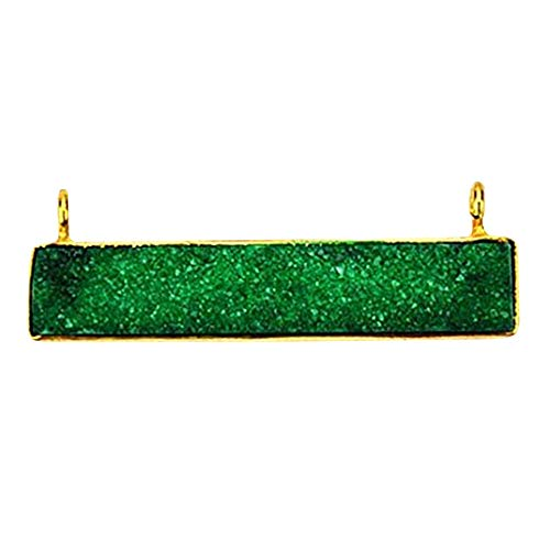 - Green Druzy Bar Necklace Pendant 22k Gold Plated,43x7mm Druzy Bar Charms Pendant(GPZG-50011)