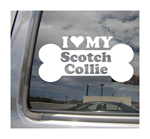 Right Now Decals I Heart Love My Scotch Collie - Dog Bone Landrace Scotland Highlands Purebred Breed Cars Trucks Moped Helmet Auto Automotive Craft Laptop Vinyl Decal Store Window Wall Sticker 13393