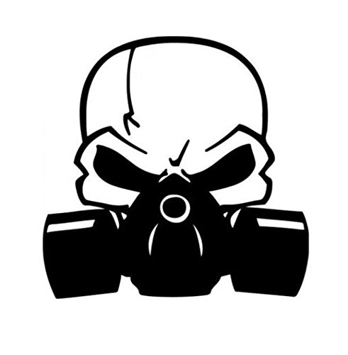 Skull with Respirator Gas Mask Biohazard Vinyl Decal Window Sticker Car Graphic , Die cut vinyl decal for windows, cars, trucks, tool boxes, laptops, MacBook - virtually any hard, smooth -