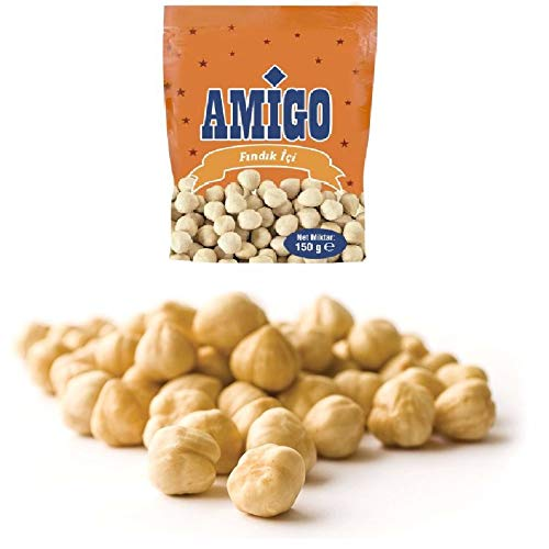 Amigo TR. - Roasted, Unsalted, Blanched Turkish Hazelnuts in Resealable Bag - Sun Dried 100% Natural Turkish Fruits l Premium Quality | Certified | No Sugar Added | Non GMO -