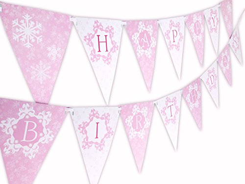 Snow Princess Pink Happy Birthday Banner Pennant