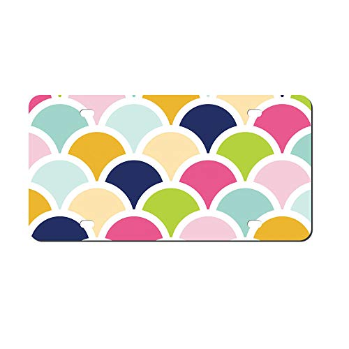 DKISEE Abstract Scallops Shells Colors License Plate Cover Aluminum Car Front License - Scallop Color Shell