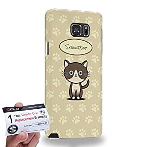 Case88 [Samsung Galaxy Note 5] 3D impresa Carcasa/Funda dura para & Tarjeta de garantía - Art Hand Drawing Snowshoe Cartoon Kitten