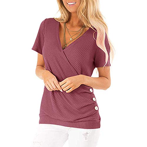 Women Deep V Neck Short Sleeve Cross Wrap Tops Waffle Knit Tee with Side Button Detail Maroon Deep V-neck Knit Tee