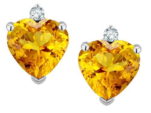 mm Genuine Citrine Earrings Studs 14 kt White Gold (Lemon Citrine Earrings)