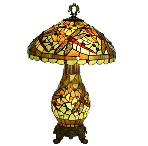 Tiffany Style Dragonfly Table Lamp Pastoral Green Stained Glass Desk Lamp with Pull Chain Lighted Base for Living Room Bedroom, 16