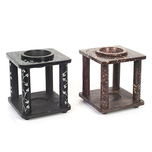 Hosley Hand Carved Black and Brown Soapstone Oil Warmer, Set of 2-4