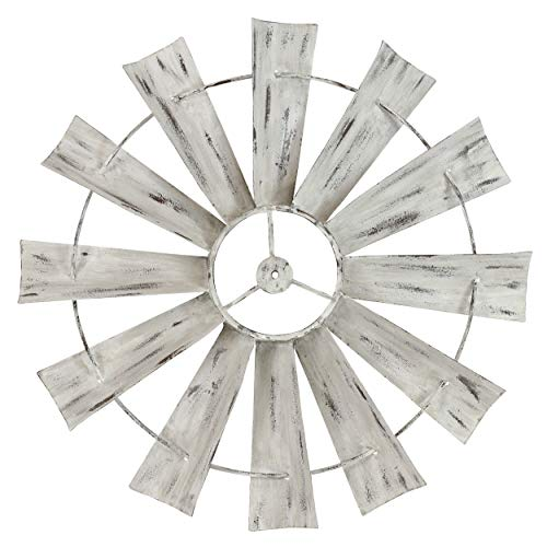 - Metal Windmill Wall Decor, Distressed Blades Cream White Ivory Antique Finish Full Size Wind Mill Sculpture, Rustic Farmhouse Chic Living Bed Room Country Charm Art Decoration 27