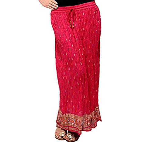 Odishabazaar Womens Pure Cotton Crinkled Printed Long Skirt (Red)