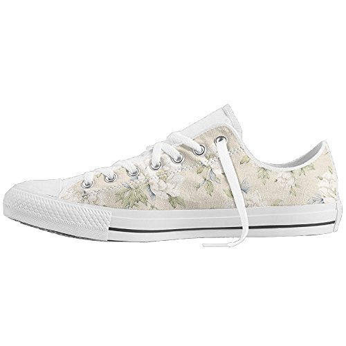 PerfectA Floral Print White Flower Pattern Classic Canvas Sneakers Shoes Lace Up Unisex Low Top (Flash Rubber Wig)