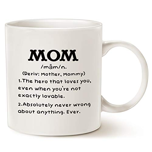 MAUAG Mother's Day Gifts Mom Definition Funny Coffee Mug, Christmas or Birthday Gift Idea for Mom Cup White, 11 Oz -
