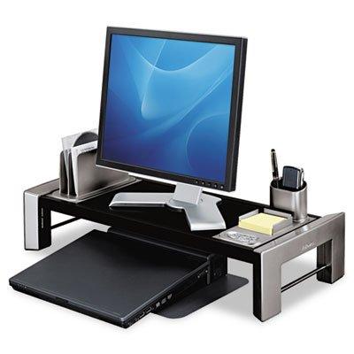 Flat Panel Workstation Shelf, 25 7/8 x 11 1/2 x 4 1/2, Black/Silver, Sold as 2 Each