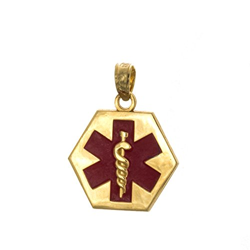 14k Yellow Gold Profession Charm Pendant, Small Red Enamel Caduceus Medical - Enamel Red 1 Disc
