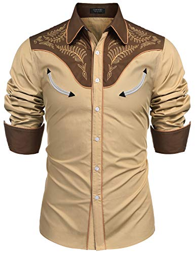 COOFANDY Mens Floral Embroidered Fashion Stylish Long Sleeve Christmas Shirts - Embroidered Button Shirt