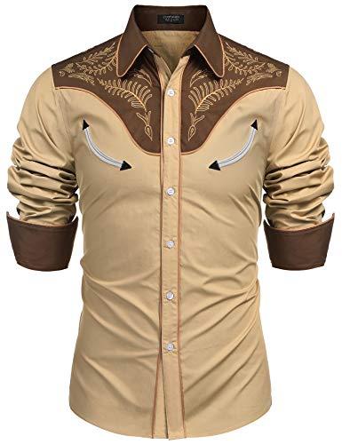 - COOFANDY Mens Floral Embroidered Fashion Stylish Long Sleeve Christmas Shirts