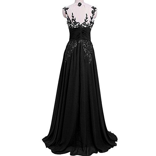 Kleid Polka Damen bodenlanges Stil Retro Young Kleid Kleid June's Faltenkleid ärmelloses Schwarz Dot n4OqZ8wxAX