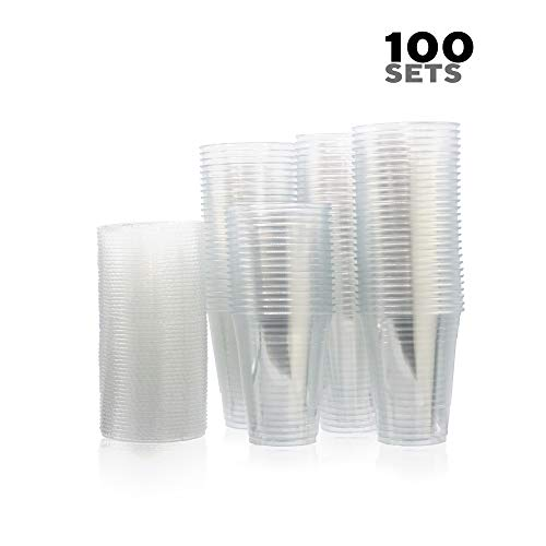(Disposable Plastic Cups With Lids By HME Houseware [100 Sets] |Anti-Leak, Crystal Clear Mugs With Flat Covers &Straw Holes | BPA-Free, Multipurpose Liquid Containers For Hot & Cold Drinks & Beverages)
