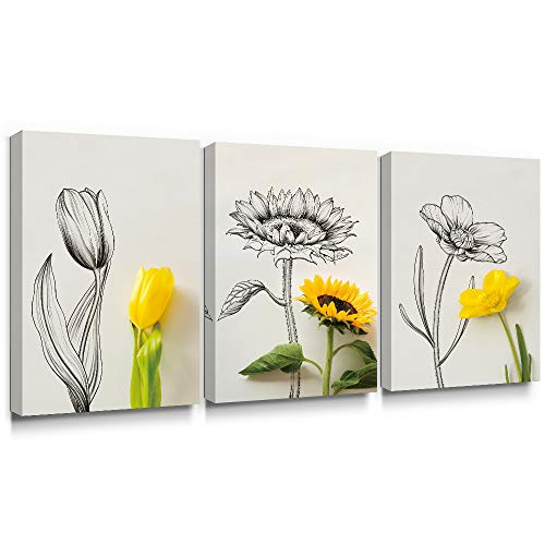 (SUMGAR Large Wall Art Living Room 3 Piece Flower Paintings Floral Yellow Pictures Modern Gray Prints Grey Artwork Set,16x24 inch)