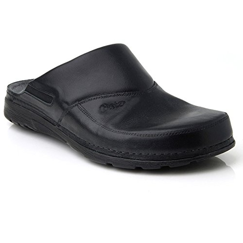 (BATZ Peter Leather Mens Slip-on Clogs Mules, Black, 46 EU (12 M US)
