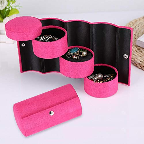 POLOILY Cylinder Shaped Jewelry Storage Makeup Organizer for Women Gift Portable 3 Layers Choker Ring Necklace Box Display Caskets Rose Red