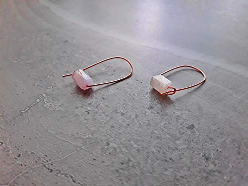 (Pink Kunzite Modern Minimalist Drop Hoop Earrings Rose Gold)