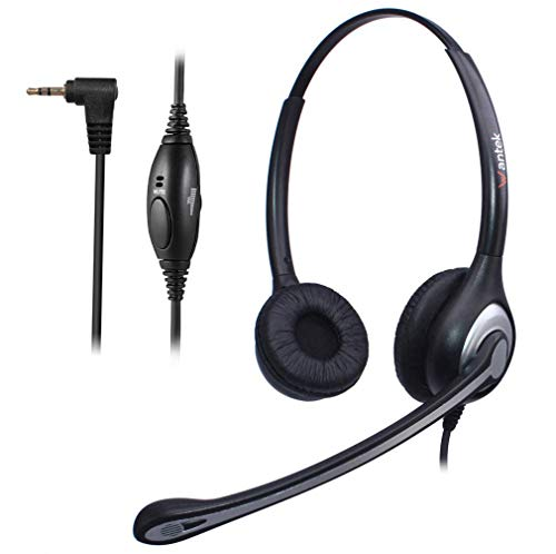Wantek Telephone Headset with Noise Cancelling Microphone, Binaural Wired Office Phone Headsets 2.5mm Jack for Cordless Phones Panasonic AT&T ML17929 RCA Vtech Uniden Dect Cisco SPA Polycom(F602J25P)