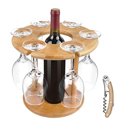 Wine Glass Drying Rack and Bottle Holder, Wooden Wine Storage Glasses Hook Stand Organizer Tray with a Free Wooden Corkscrew ()