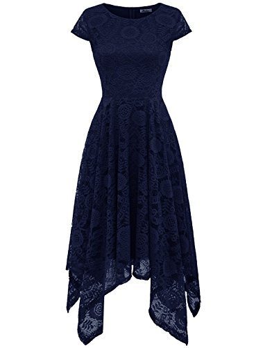 AONOUR AR8009 Women's Floral Lace Cap Sleeve Handkerchief Hem Cocktail Party Swing Dress Navy M