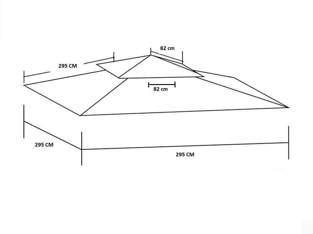 Top Telo Copertura per Gazebo Ricambio 3x3mt con Airvent aggancio spigoli Solo Telo