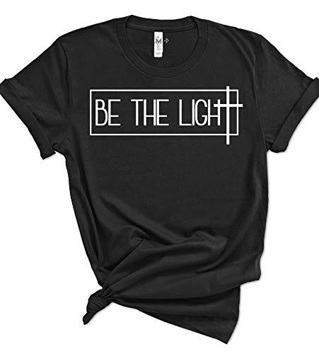 (Psalm Life Be The Light Christian T-Shirt - Unisex Religious Faith Tee (Small, Black - White Ink))
