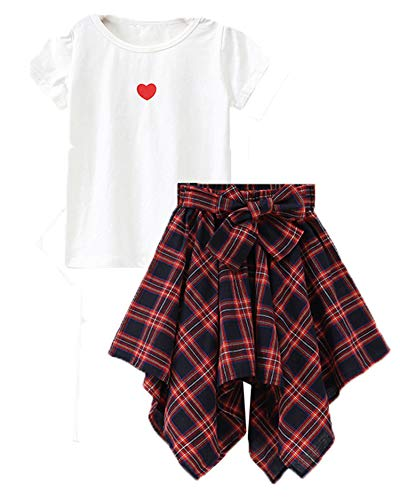 M RACLE Cute Little Girls' 2 Pieces Long Sleeve Top Pants Leggings Clothes Set Outfit (10-11 Years, S-White -