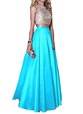 Momoai Women's Crystal Beaded Bodice Ball Gown Evening Formal Gown 2 Pieces Prom Dresses Long M006
