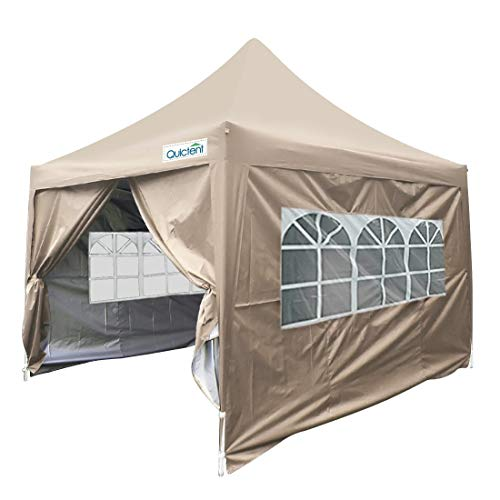 Quictent Silvox 8x8 EZ Pop Up Canopy Gazebo Party Tent with Sidewalls & Roller Bag Waterproof Pyramid Roof (Beige)