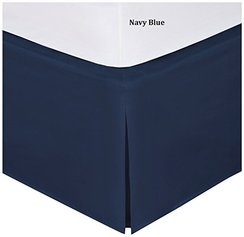 Fancy Collection Easy Care Bed Skirt Microfiber Drop Bed Skirt Solid New (Navy Blue, Twin) (Blue Bed Skirts)
