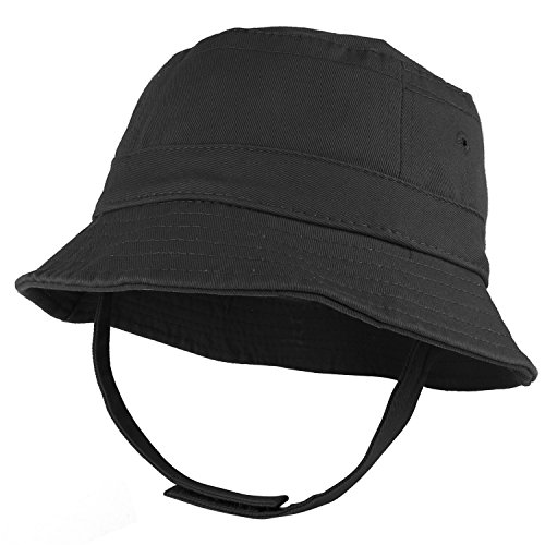 Trendy Apparel Shop Infant Baby's 100% Cotton Bucket Hat with Adjustable Chin Strap - Black