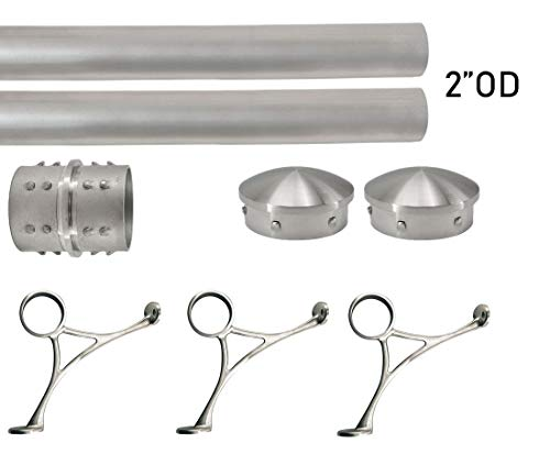 (Bar Foot Rail Kit (Extra Long, Custom-made Item) - Brushed Stainless Steel Tubing (2 in OD, 8 ft Length) w/Internal Connector - Combination Foot Rail Brackets - Tapered End Caps)