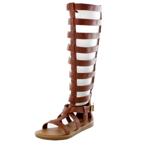 7ab0f2d697b3 Qupid AI83 Women Leatherette Strappy Gladiator Knee High Flat Sandal -  Cognac (Size  6.0) · related-product. Breckelles ...