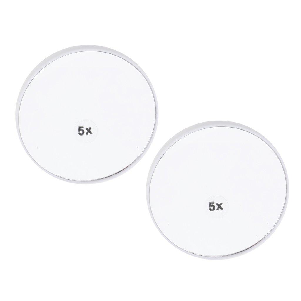Fenteer 2X Rutschfest Kosmetikspiegel Vergrößrungsspiegel Rasierspiegel mit Saugnapf für Wandmontage - 3X