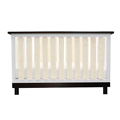 Go Mama Go 24 Piece Pure Safety Vertical Crib Liners, Cream Minky (Rail Liner)