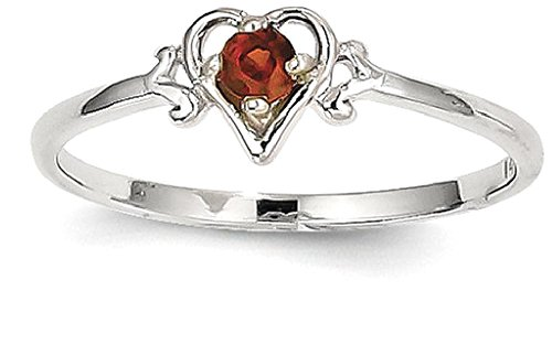 ICE CARATS 14k White Gold Red Garnet Birthstone Heart Band Ring Size 7.00 S/love January Style Fine Jewelry Gift Set For Women Heart by ICE CARATS