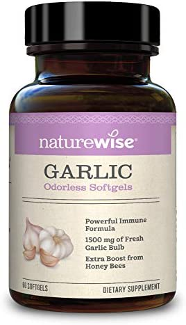NatureWise Garlic – 1500mg of Fresh Garlic Bulb Odorless Garlic Softgels for a Healthy Cardiovascular System Powerful Immune Formula and Extra Boost from Honey Bees 2 Month Supply – 60 Count